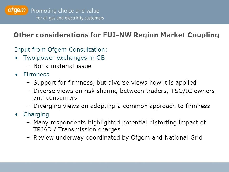 Other considerations for FUI-NW Region Market Coupling