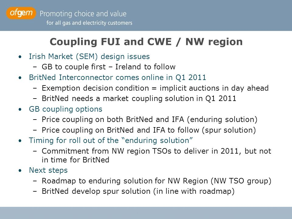 Coupling FUI and CWE / NW region