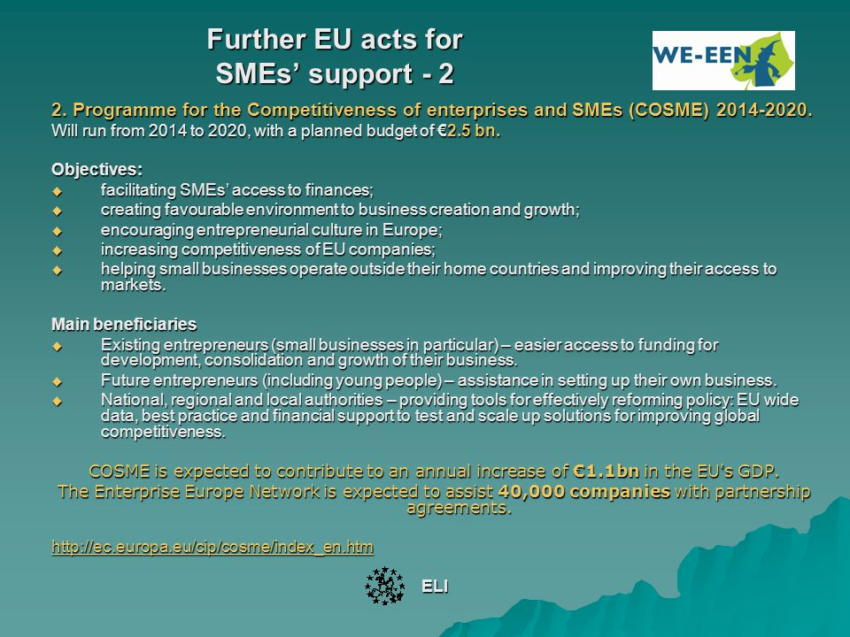 Further EU acts for SMEs' support - 2