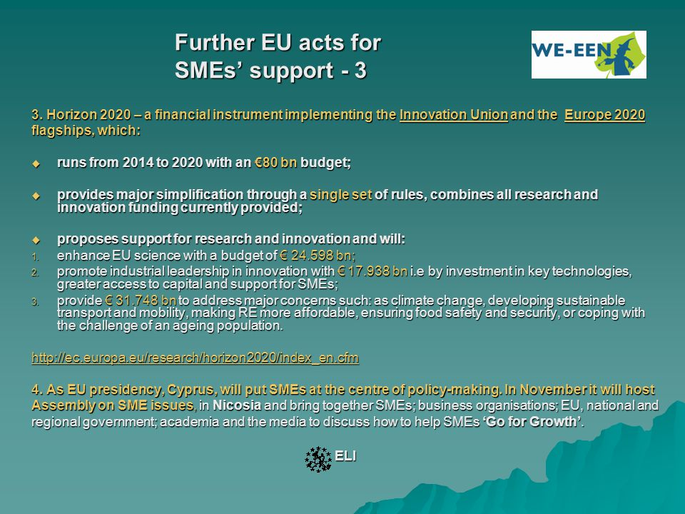 Further EU acts for SMEs' support - 3