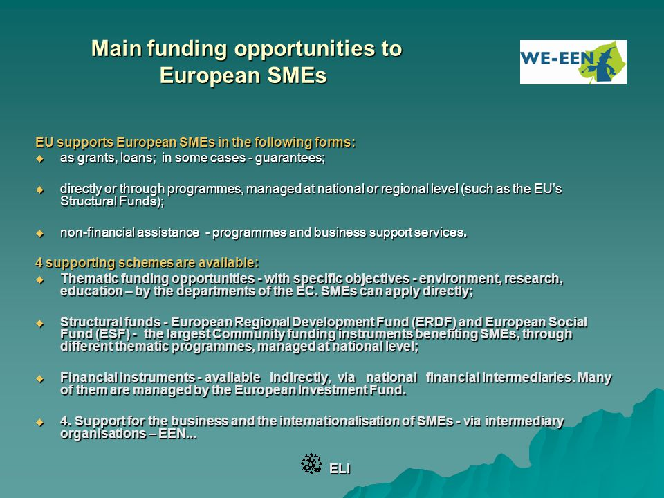 Main funding opportunities to European SMEs