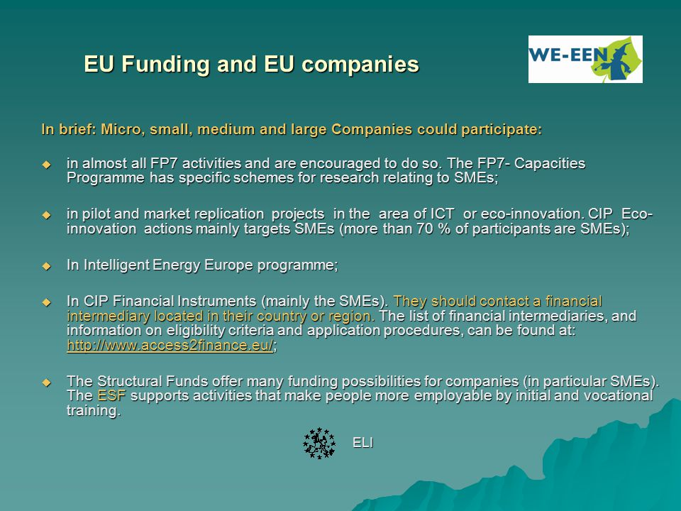 EU Funding and EU companies
