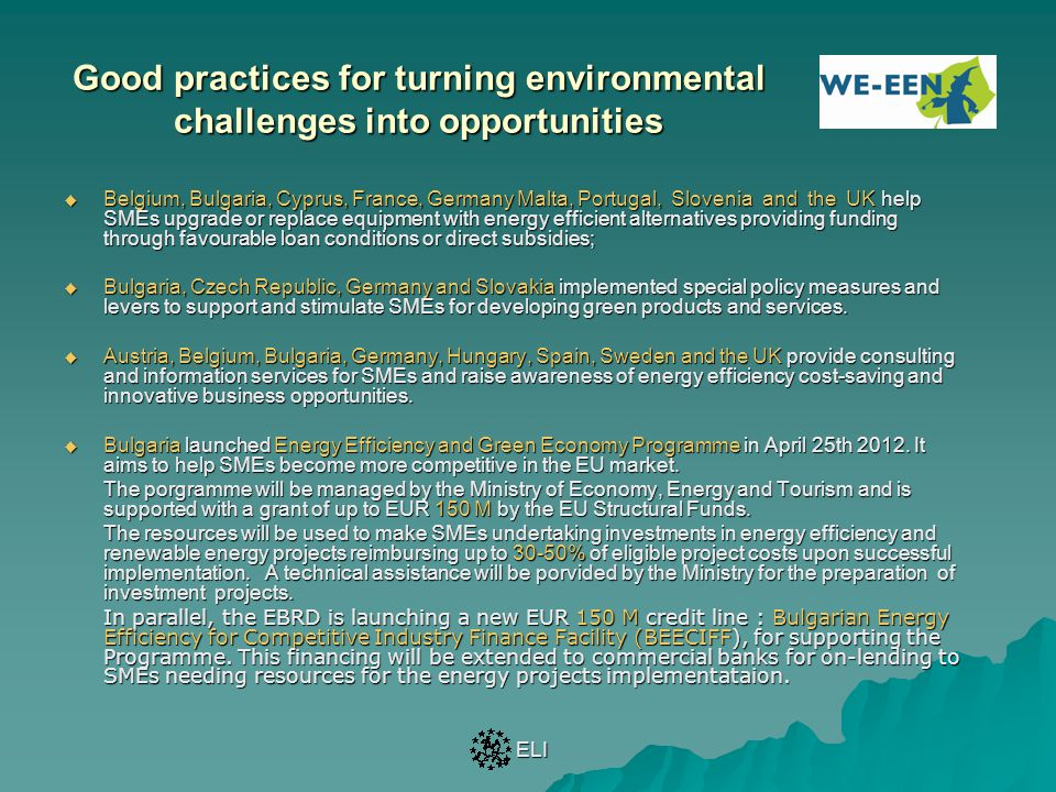 Good practices for turning environmental challenges into opportunities