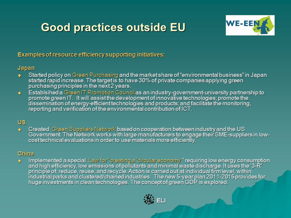Good practices outside EU