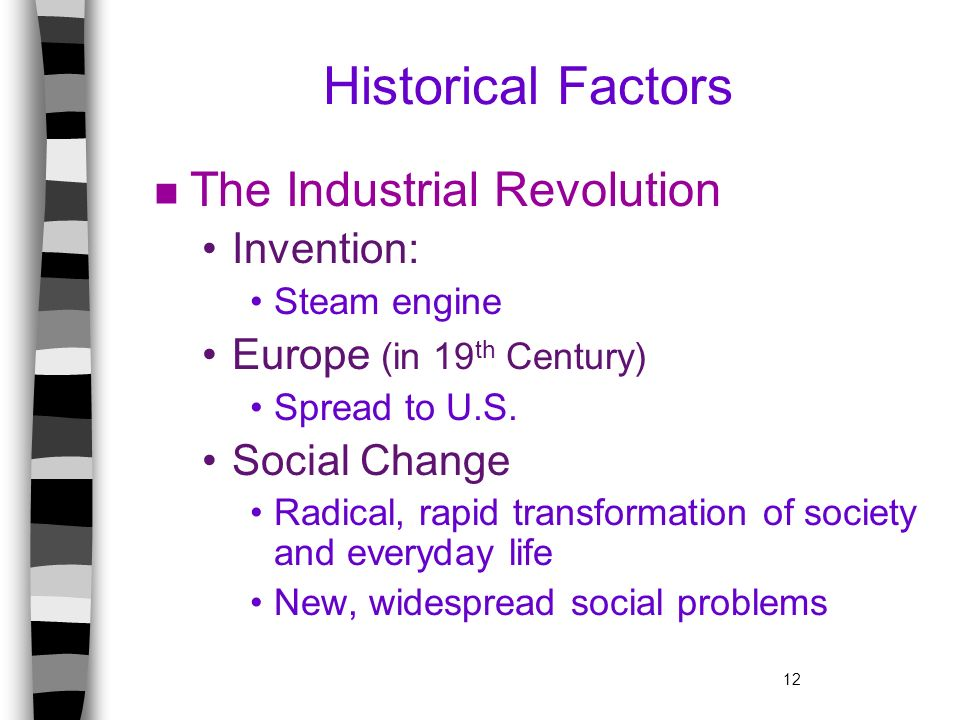 Historical Factors The Industrial Revolution Invention: