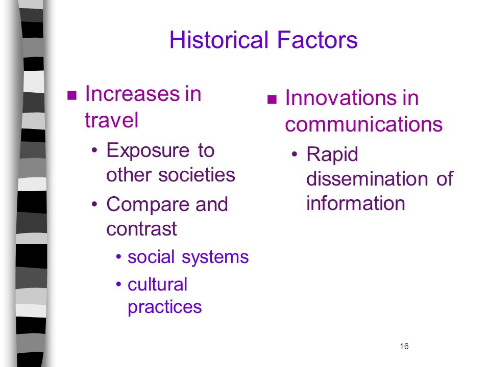 Historical Factors Increases in travel Innovations in communications