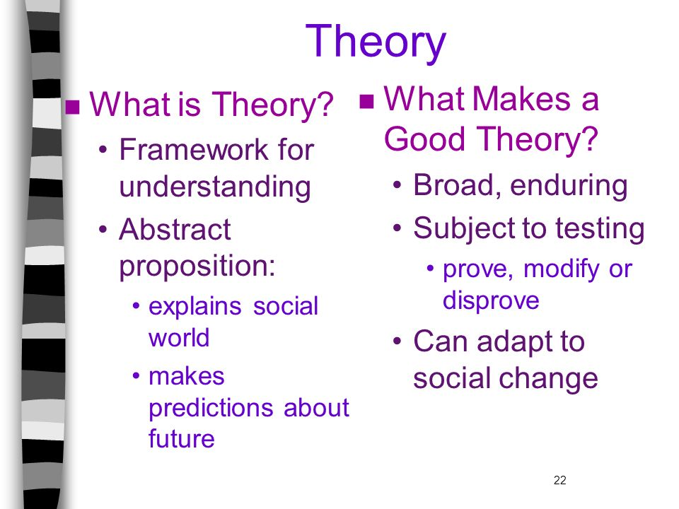 Theory What Makes a Good Theory What is Theory