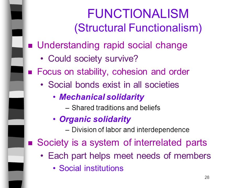 FUNCTIONALISM (Structural Functionalism)