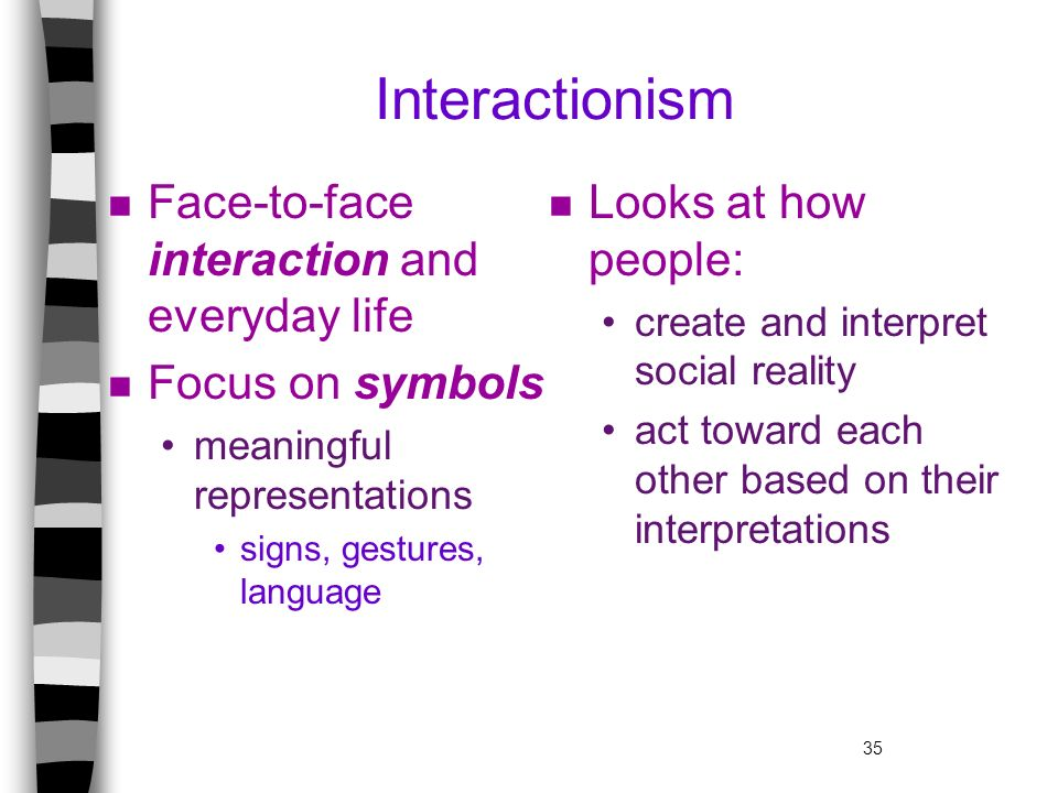 Interactionism Face-to-face interaction and everyday life