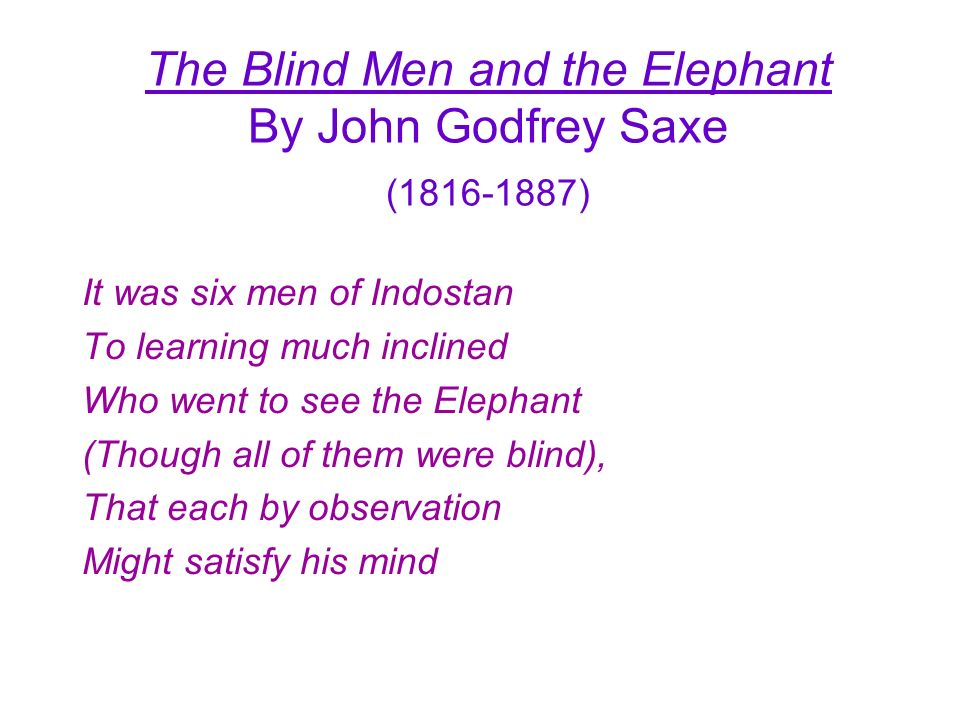 The Blind Men and the Elephant By John Godfrey Saxe ( )