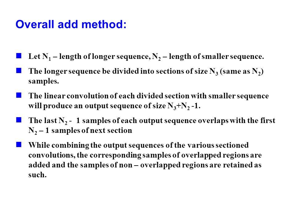 Overall add method:Let N1 – length of longer sequence, N2 – length of smaller sequence.