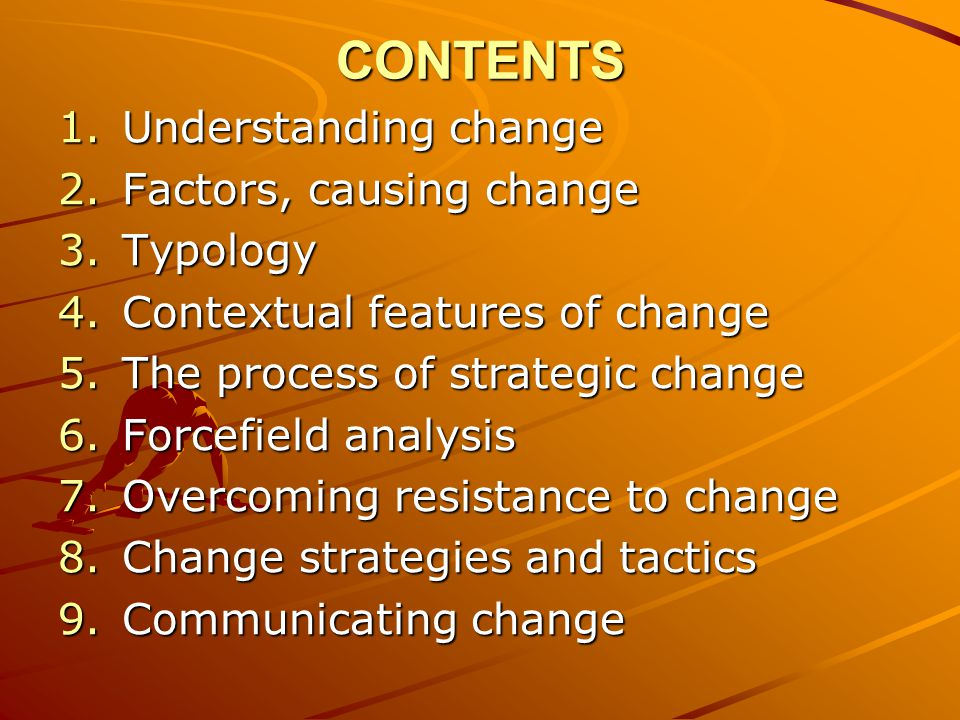 CONTENTS Understanding change Factors, causing change Typology
