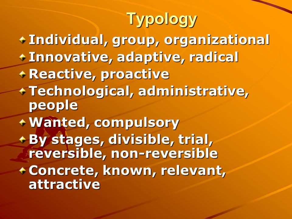 Typology Individual, group, organizational