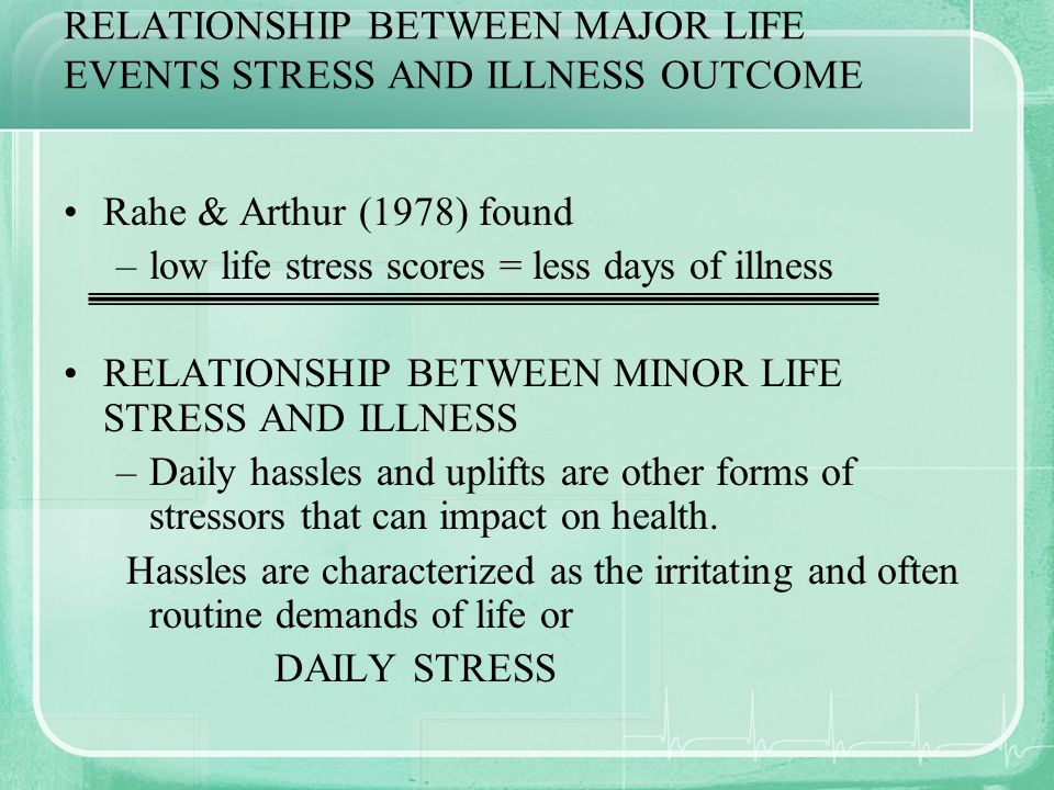 RELATIONSHIP BETWEEN MAJOR LIFE EVENTS STRESS AND ILLNESS OUTCOME