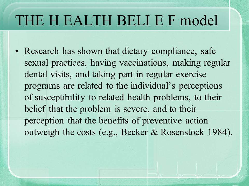 THE H EALTH BELI E F model