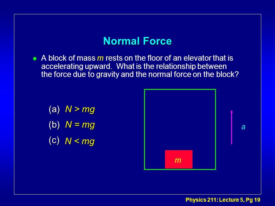 Normal Force (a) N > mg (b) N = mg (c) N < mg