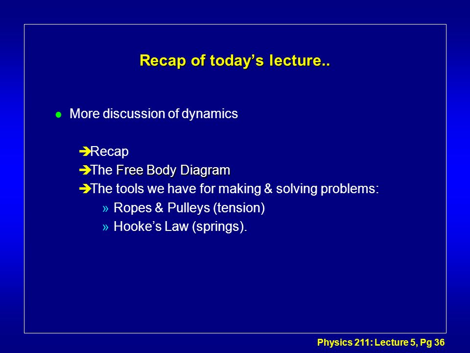Recap of today's lecture..