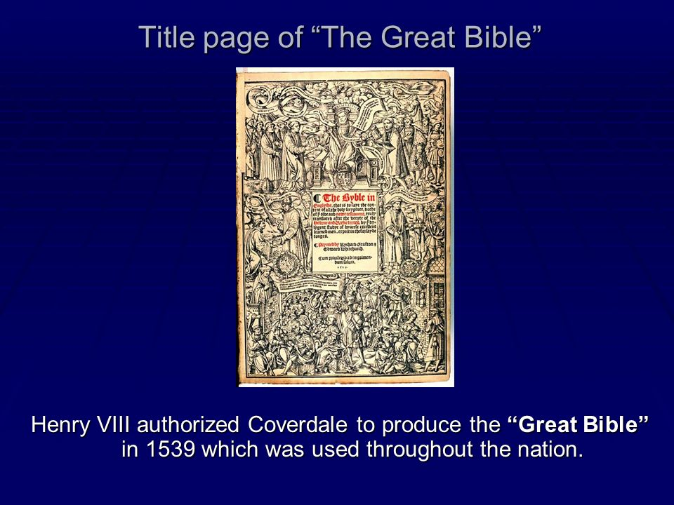 Title page of The Great Bible