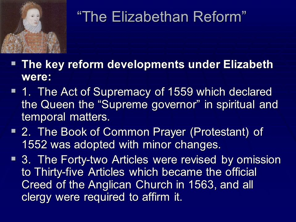 The Elizabethan Reform