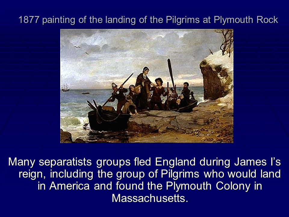 1877 painting of the landing of the Pilgrims at Plymouth Rock