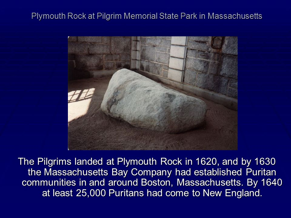 Plymouth Rock at Pilgrim Memorial State Park in Massachusetts
