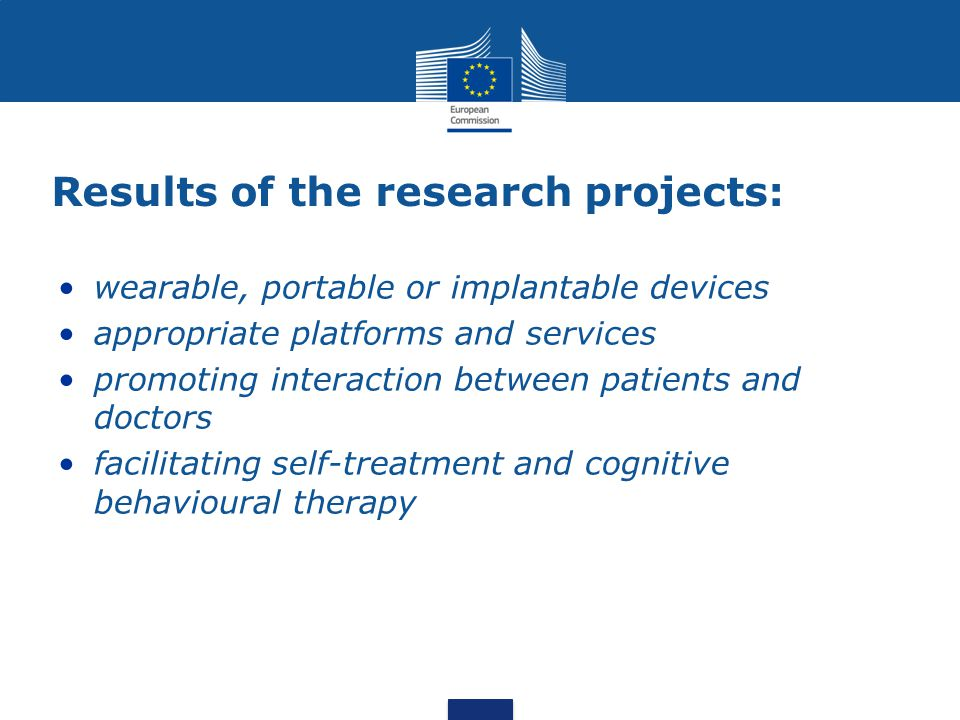 Results of the research projects: