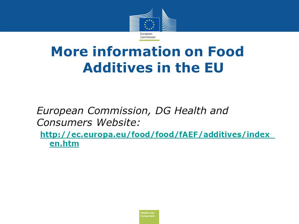 More information on Food Additives in the EU