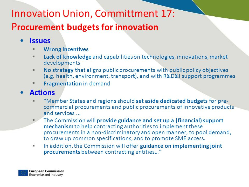 Innovation Union, Committment 17: Procurement budgets for innovation