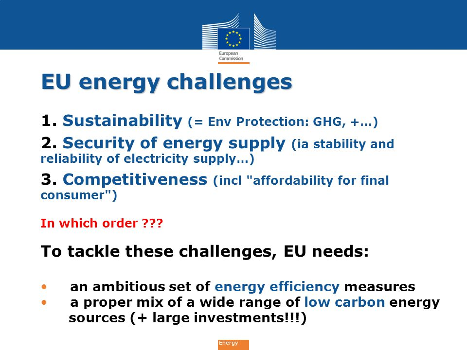 EU energy challenges 1. Sustainability (= Env Protection: GHG, +…)