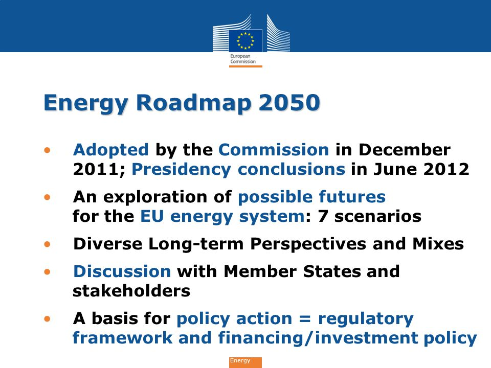 Energy Roadmap 2050 Adopted by the Commission in December 2011; Presidency conclusions in June 2012.