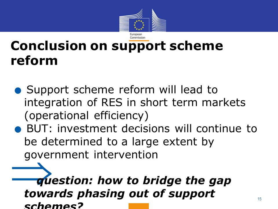 Conclusion on support scheme reform