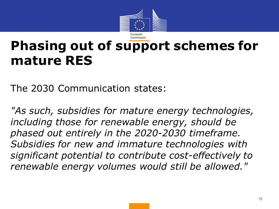 Phasing out of support schemes for mature RES