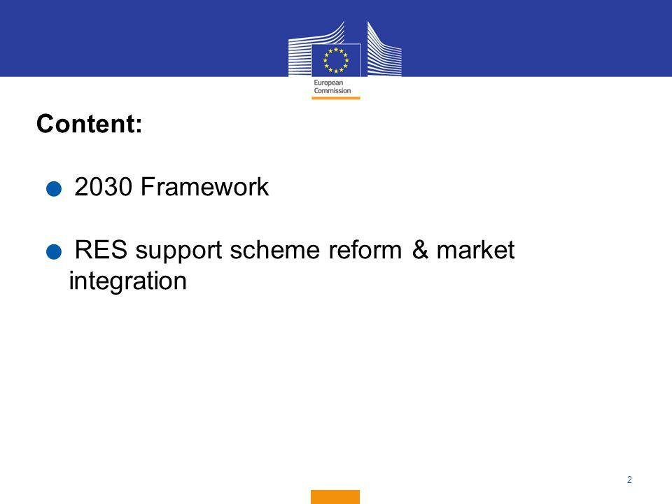 Content: 2030 Framework RES support scheme reform & market integration