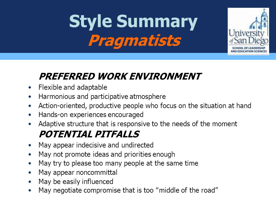 Style Summary Pragmatists PREFERRED WORK ENVIRONMENT