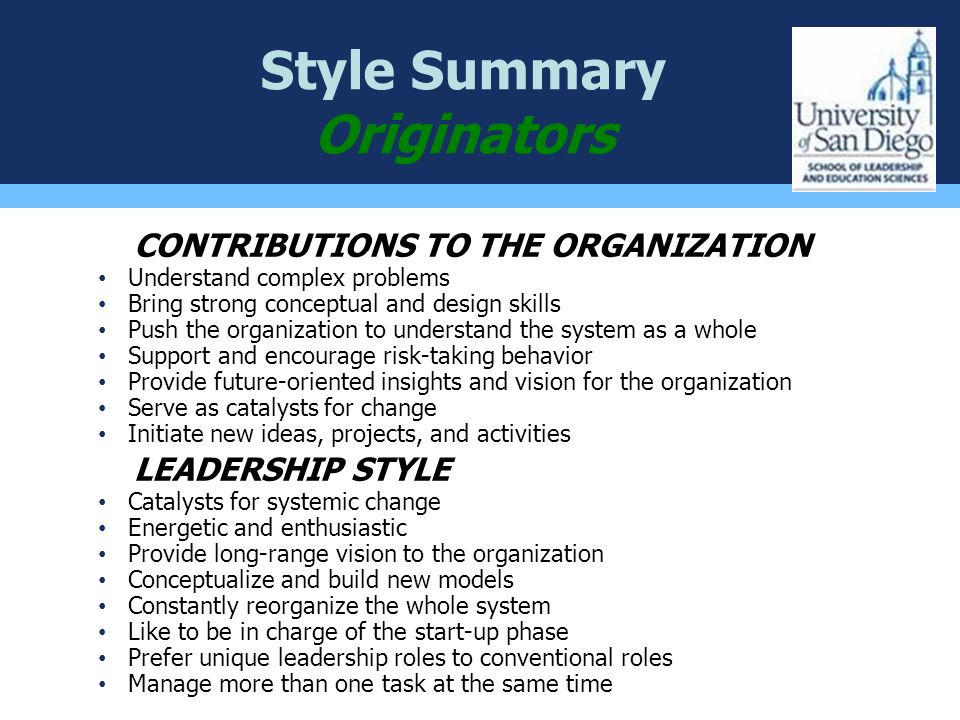 Style Summary Originators
