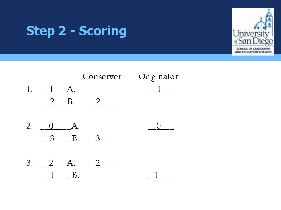 Step 2 - Scoring Conserver Originator __1___A. ___1___