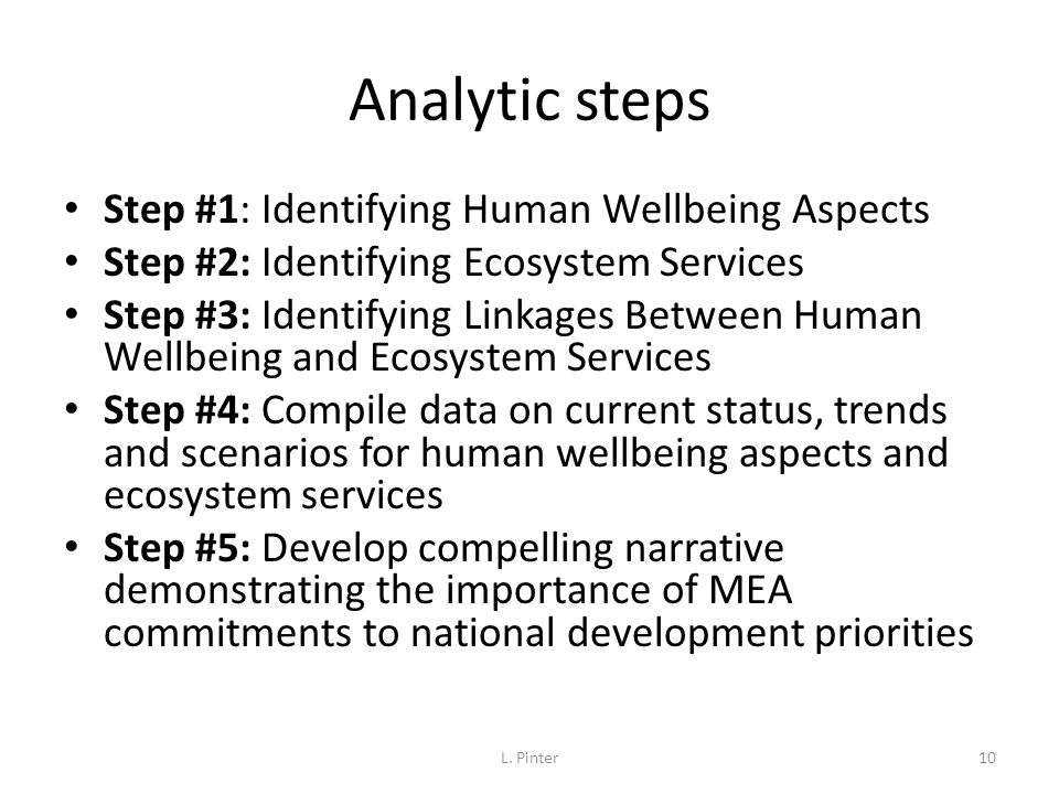 Analytic steps Step #1: Identifying Human Wellbeing Aspects