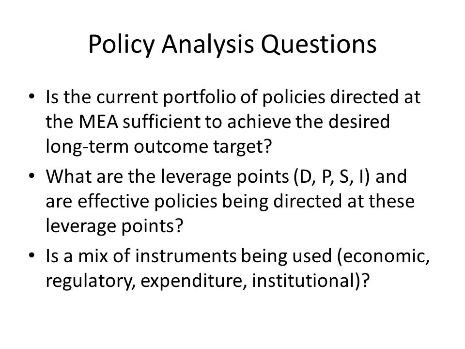 Policy Analysis Questions