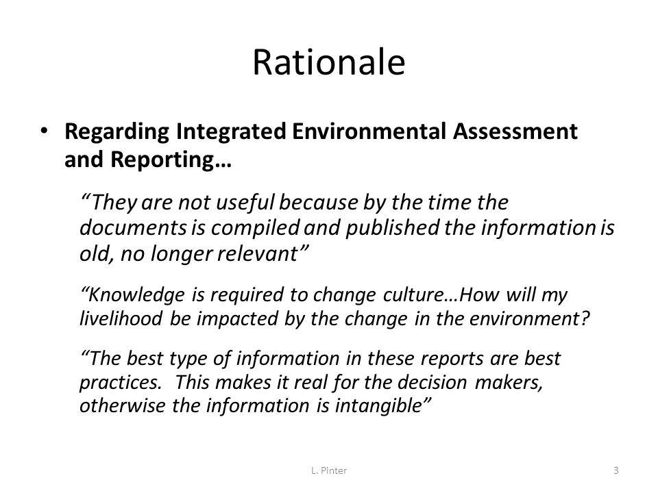 Rationale Regarding Integrated Environmental Assessment and Reporting…