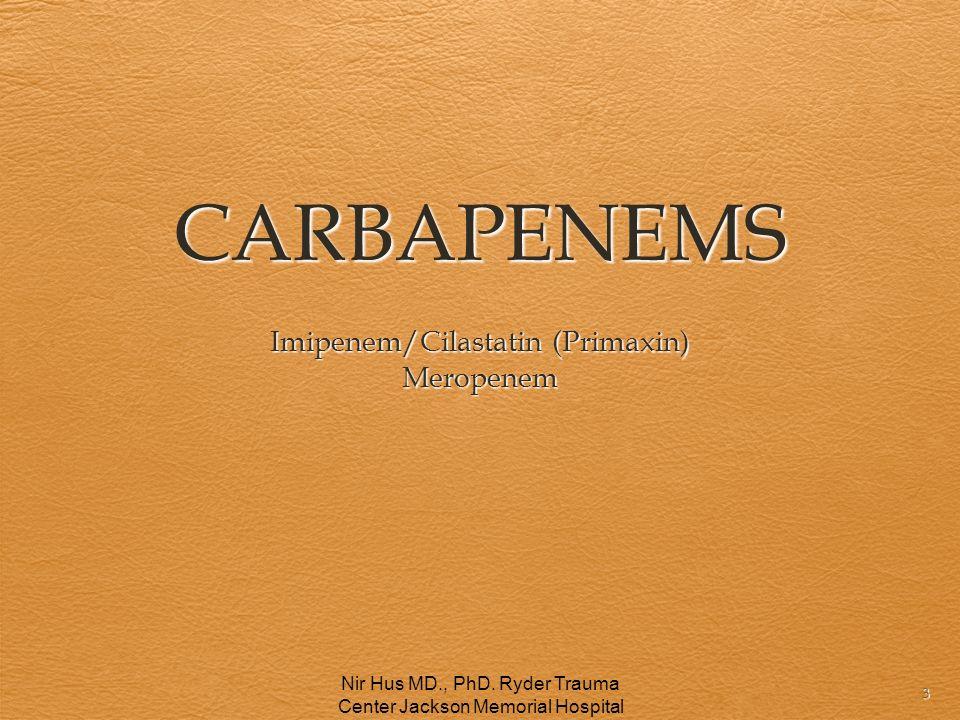 CARBAPENEMS Imipenem/Cilastatin (Primaxin) Meropenem