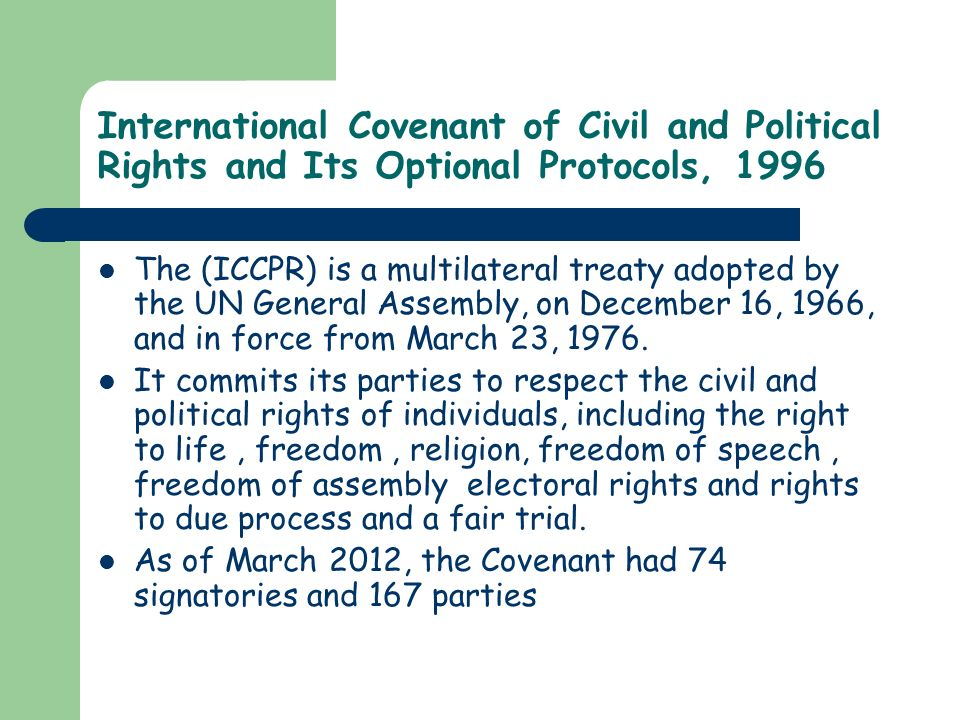 International Covenant of Civil and Political Rights and Its Optional Protocols, 1996