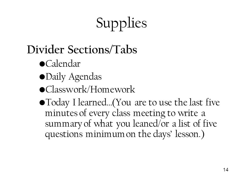 Supplies Divider Sections/Tabs Calendar Daily Agendas
