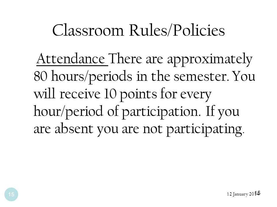 Classroom Rules/Policies