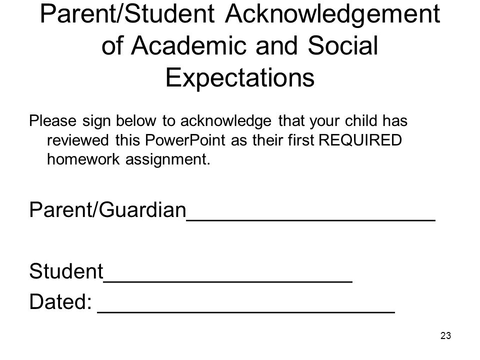 Parent/Student Acknowledgement of Academic and Social Expectations