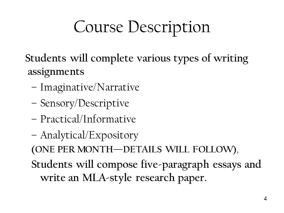 Course Description Imaginative/Narrative Sensory/Descriptive