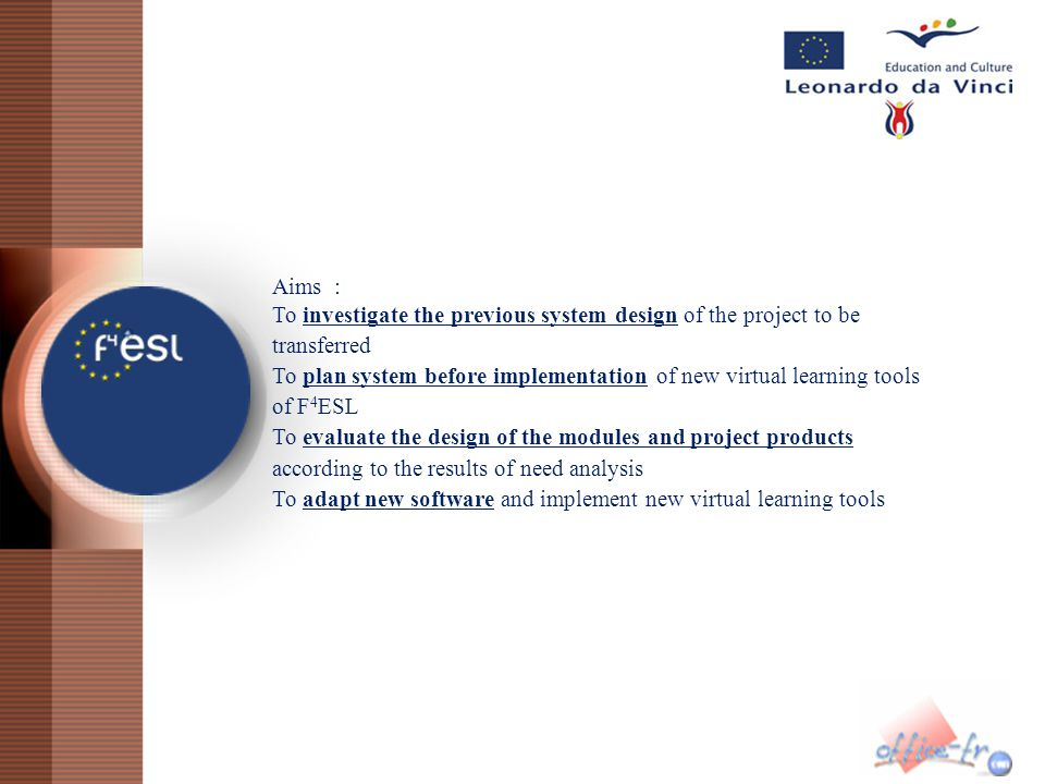 Aims : To investigate the previous system design of the project to be transferred.