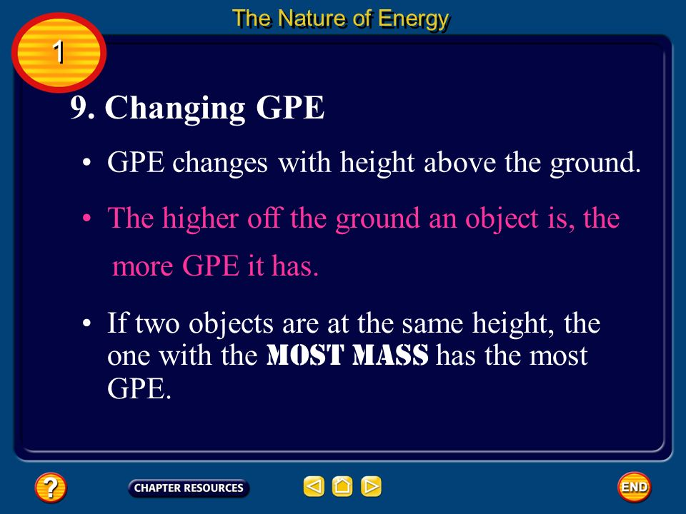 9. Changing GPE 1 GPE changes with height above the ground.