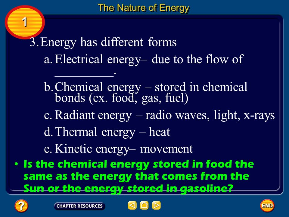Energy has different forms
