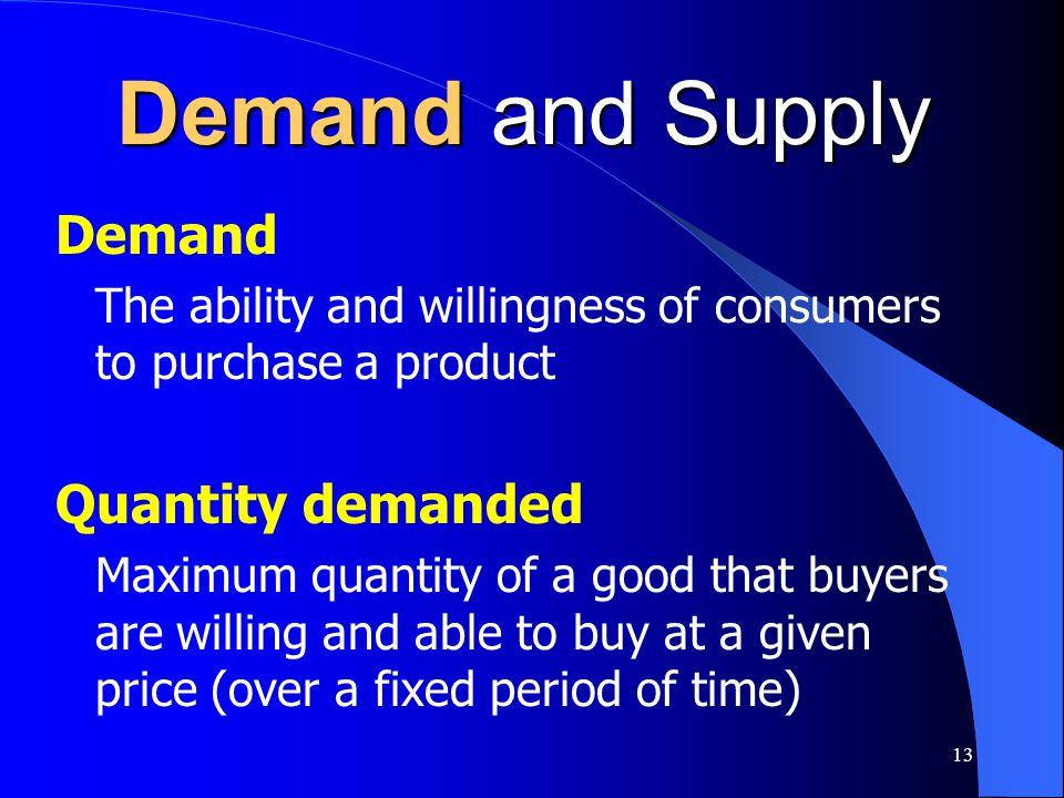 Demand and Supply Demand Quantity demanded