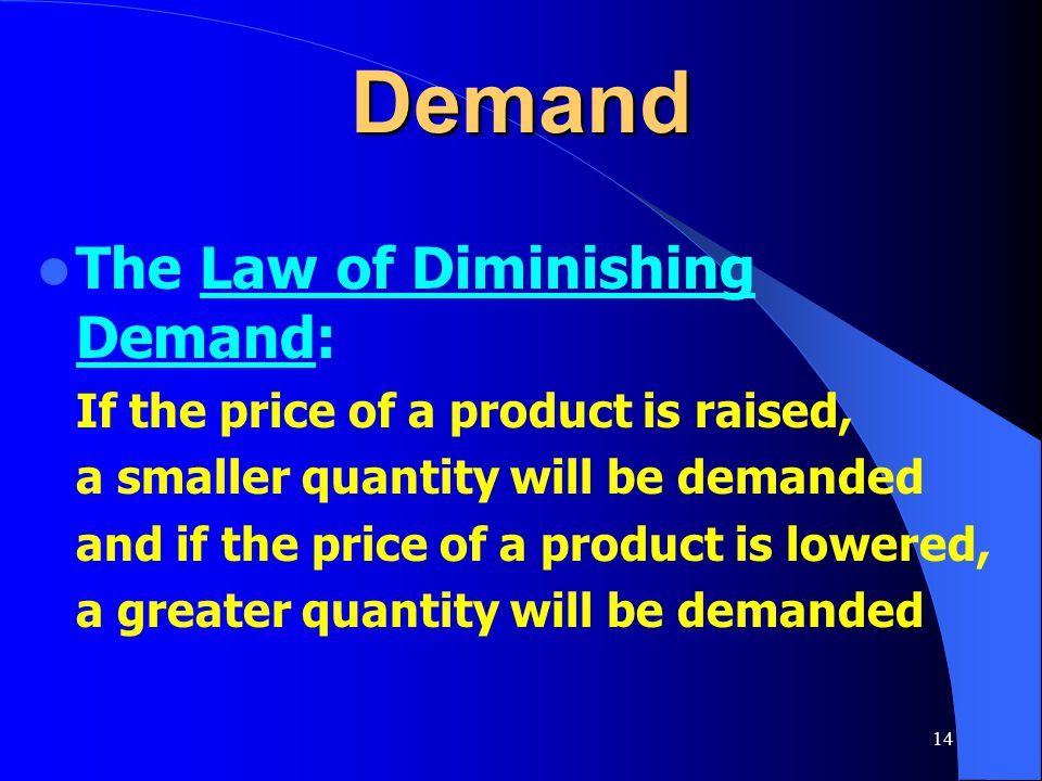 Demand The Law of Diminishing Demand: